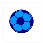 Blue Soccer Ball Square Car Magnet 3