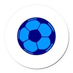 Blue Soccer Ball Round Car Magnet