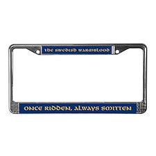 """""""Once Ridden"""" Blue License Plate Frame"""