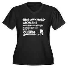 Curling sports designs Women's Plus Size V-Neck Da