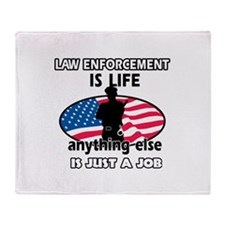Patriotic Law Enforcement designs Throw Blanket