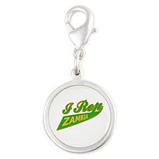 I rep Zambia Silver Round Charm