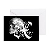 Gothic Skull Initial X Greeting Card