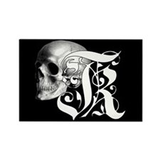 Gothic Skull Initial K Rectangle Magnet