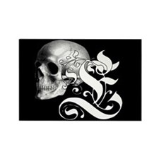 Gothic Skull Initial E Rectangle Magnet