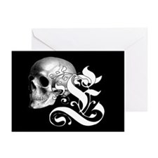 Gothic Skull Initial E Greeting Cards (Pk of 10)