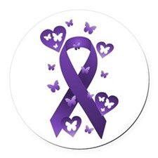 Purple Awareness Ribbon Round Car Magnet