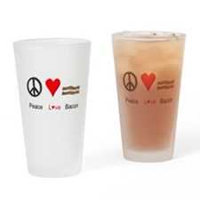 Peace Love Bacon Drinking Glass
