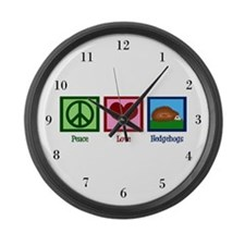 Peace Love Hedgehogs Large Wall Clock