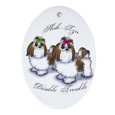 Shih Tzu Double Trouble Ornament (Oval)