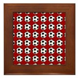 soccer on red Framed Tile
