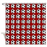 soccer on red Shower Curtain