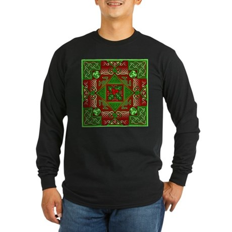 Celtic Labyrinth Holly Long Sleeve Dark T-Shirt