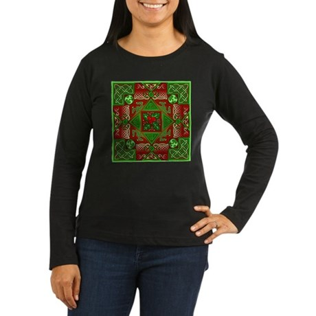 Celtic Labyrinth Holly Women's Long Sleeve Dark T-