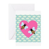 Honey Bee Love on White Clouds Greeting Card