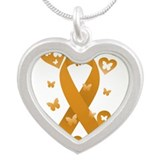 Orange Awareness Ribbon Silver Heart Necklace