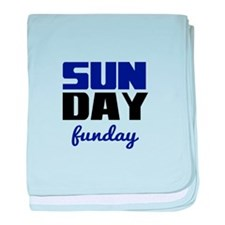 Sunday funday (black/blue) Typographic baby blanke