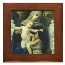 The Virgin, Baby Jesus and St Framed Tile