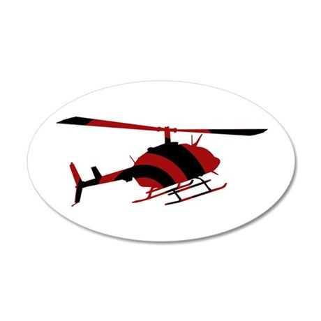 Helicopter 35x21 Oval Wall Decal
