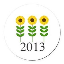 Personalizable Sunflowers Round Car Magnet
