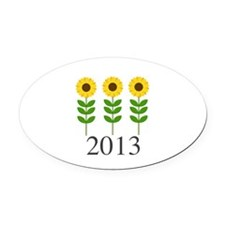 Personalizable Sunflowers Oval Car Magnet