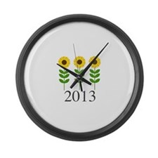 Personalizable Sunflowers Large Wall Clock