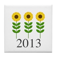 Personalizable Sunflowers Tile Coaster