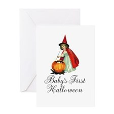 Babys First Halloween Vintage Witch Greeting Card