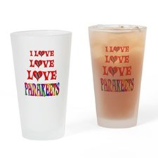 Love Love Parakeets Drinking Glass