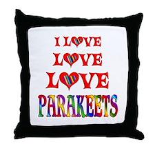Love Love Parakeets Throw Pillow