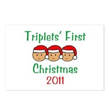 Triplets First Santa Hats Postcards (Package of 8)