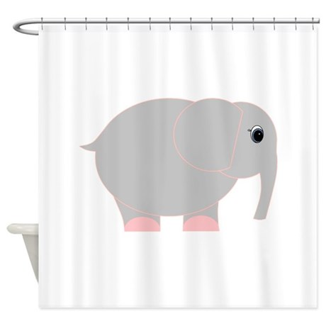 Pink and grey elephant shower curtain by beachbumming for Pink grey bathroom accessories