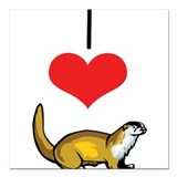 "heart-otters.png Square Car Magnet 3"" x 3"""