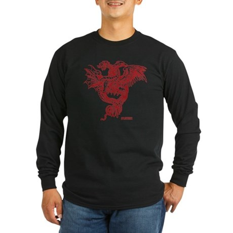 Winged Monster Fight Long Sleeve Dark T-Shirt