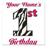 1st Birthday Zebra - Personalized! Square Car Magn