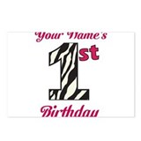 1st Birthday Zebra - Personalized! Postcards (Pack