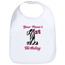 1st Birthday Zebra - Personalized! Bib