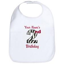 2nd Birthday Zebra - Personalized! Bib