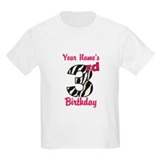 3rd Birthday Zebra - Personalized! T-Shirt
