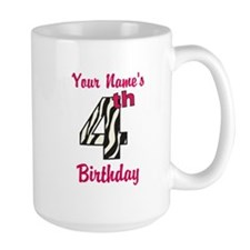 4th Birthday Zebra - Personalized! Mug