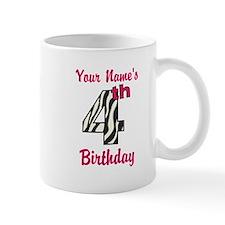 4th Birthday Zebra - Personalized! Small Mug