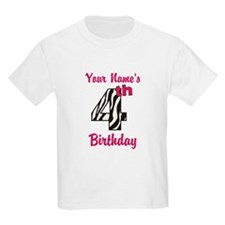 4th Birthday Zebra - Personalized! T-Shirt