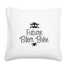 Future Biker Babe Square Canvas Pillow