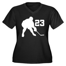 Hockey Player Number 23 Women's Plus Size V-Neck D