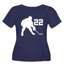 Hockey Player Number 22 Women's Plus Size Scoop Ne