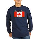 Canadian Flag Long Sleeve Navy Blue T-Shirt