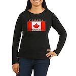 Canadian Flag Women's Long Sleeve Black T-Sh