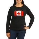 Canada Flag Women's Long Sleeve Brown T-Sh