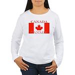 Canada Canadian Flag Women's Long Sleeve T-Shirt