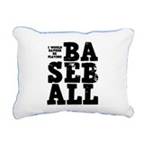 'Playing Baseball' Rectangular Canvas Pillow